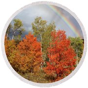 Autumn Rainbow Round Beach Towel