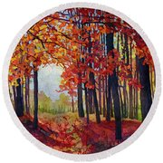 Round Beach Towel featuring the painting Autumn Rapture by Hailey E Herrera