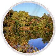 Round Beach Towel featuring the photograph Autumn Reflection by Angie Tirado
