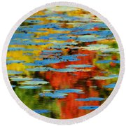 Round Beach Towel featuring the photograph Autumn Lily Pads by Diana Angstadt