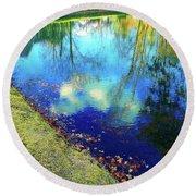 Autumn Reflection Pond Round Beach Towel