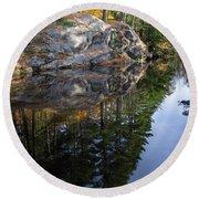 Autumn Reflections At Runaround Pond In Durham Maine  -20224 Round Beach Towel