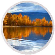 Autumn Reflections At Sunoka Round Beach Towel