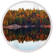 Round Beach Towel featuring the photograph   Autumn Reflections by Debbie Oppermann