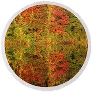 Autumn Reflections In A Pond Round Beach Towel