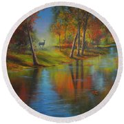 Autumn Reflections Round Beach Towel by Jeanette French