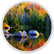 'autumn Reflections - Noyes Pond' Round Beach Towel