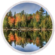 Autumn Reflections Of Maine Round Beach Towel