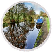 Autumn Reflections On  The Leeds Liverpool Canal Round Beach Towel