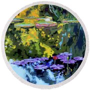 Autumn Reflections On The Pond Round Beach Towel