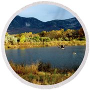 Autumn Rest Stop For Canadian Geese Round Beach Towel