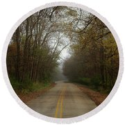 Autumn Road Round Beach Towel by Inspired Arts