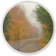 Autumn Roads Round Beach Towel