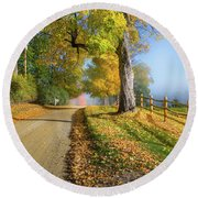 Autumn Rural Road Round Beach Towel