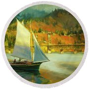 Autumn Sail Round Beach Towel