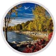 Autumn Scene Lake Ontario Canada Round Beach Towel