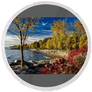 Autumn Scene Lake Ontario Canada Round Beach Towel