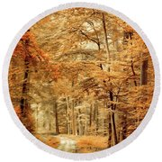 Autumn Secret Round Beach Towel