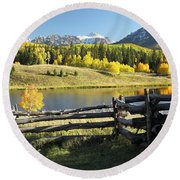 Autumn Serenade Round Beach Towel