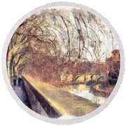 Round Beach Towel featuring the photograph Autumn by Sergey Simanovsky