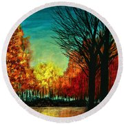 Autumn Silhouette  Round Beach Towel