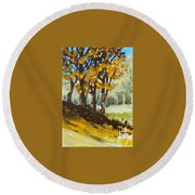 Round Beach Towel featuring the painting Autumn Sketch by Jim Phillips