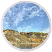 Autumn Sky On The River Round Beach Towel