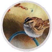 Autumn Sparrow Round Beach Towel