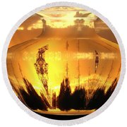 Round Beach Towel featuring the photograph Autumn Spirits by Joyce Dickens