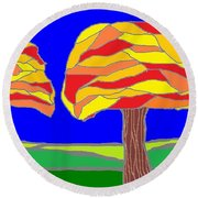 Autumn Stained Glass 1 Round Beach Towel