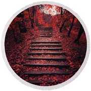 Autumn Stairs Round Beach Towel