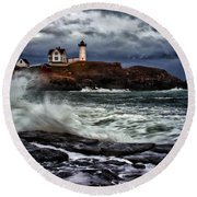 Autumn Storm At Cape Neddick Round Beach Towel