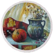 Round Beach Towel featuring the painting Autumn Story by Elena Oleniuc