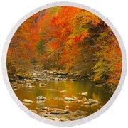 Round Beach Towel featuring the photograph Autumn Stream by Geraldine DeBoer