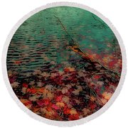Round Beach Towel featuring the photograph Autumn Submerged by David Patterson