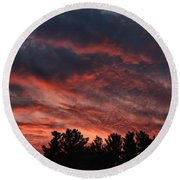 Round Beach Towel featuring the photograph Autumn Sunet by Kenny Glotfelty