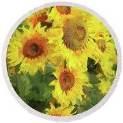 Autumn Sunflowers Round Beach Towel by Tina LeCour