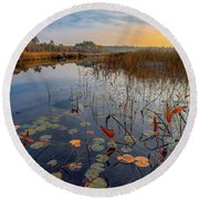 Autumn Sunrise At Compass Pond Round Beach Towel
