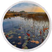 Autumn Sunrise At Compass Pond Round Beach Towel