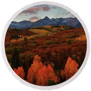 Round Beach Towel featuring the photograph Autumn Sunrise At Dallas Divide In Colorado by Jetson Nguyen