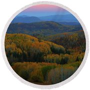 Autumn Sunrise At Rainbow Ridge Colorado Round Beach Towel by Jetson Nguyen
