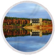 Autumn Sunrise At Wachusett Reservoir Round Beach Towel