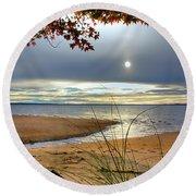Autumn Sunrise On The James Round Beach Towel