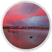 Round Beach Towel featuring the photograph Autumn Sunrise by Roy McPeak