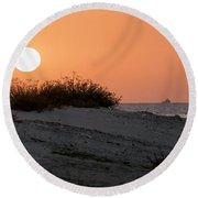 Autumn Sunset Round Beach Towel