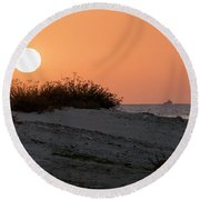 Autumn Sunset Round Beach Towel by Arik Baltinester
