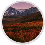 Autumn Sunset At Conway Summit In The Eastern Sierras Round Beach Towel