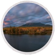 Autumn Sunset At Mount Katahdin Round Beach Towel