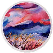 Autumn Sunset In The Sky Round Beach Towel