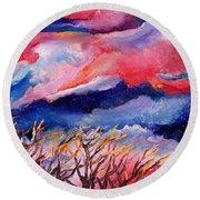 Autumn Sunset In The Sky Round Beach Towel